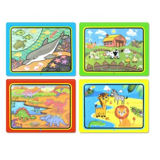 Carte reutilzabila de colorat cu apa - Animale Diverse
