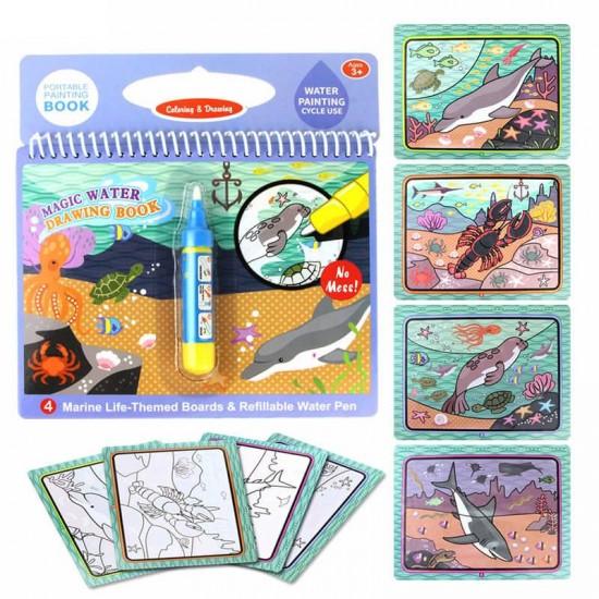 Carte reutilzabila de colorat cu apa  Animale Marine