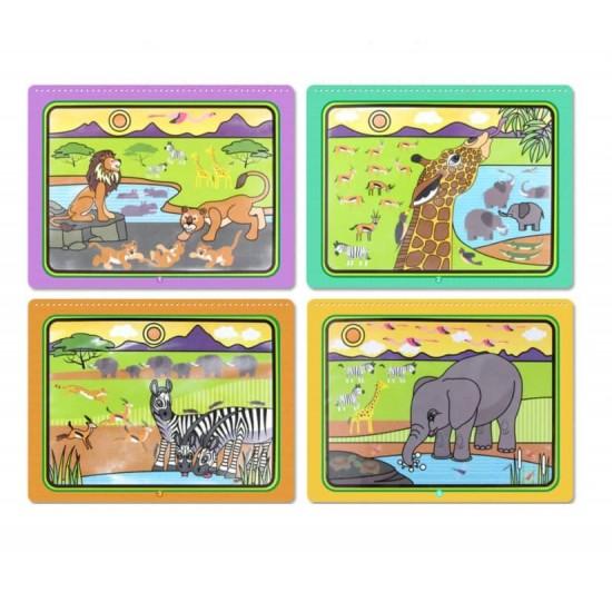 Carte reutilzabila de colorat cu apa - Animale Salbatice Safari