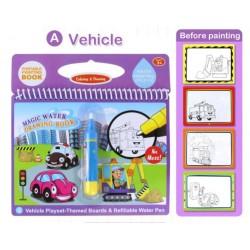 Carte reutilzabila de colorat cu apa Vehicule