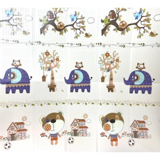 Covor de joaca pliabil cu doua fete 200x180 cm Elefanteii