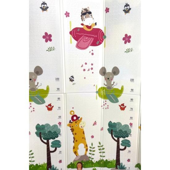Covor de joaca pliabil cu doua fete Unicorni si Animale 200x180 cm
