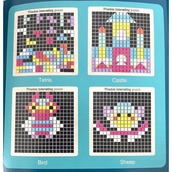 Joc creativ Pixel din lemn Fun Puzzle