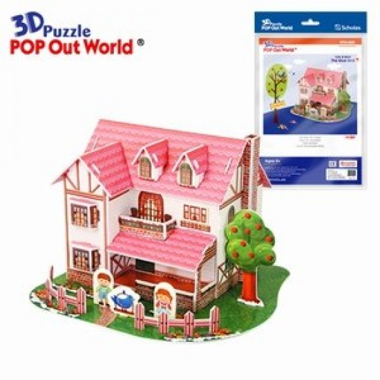 Puzzle 3D Pasarea Albastra si Casuta Roz