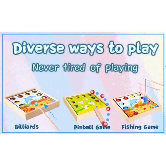 Joc 3 in 1 din lemn Pescuit, Biliard si Pinball