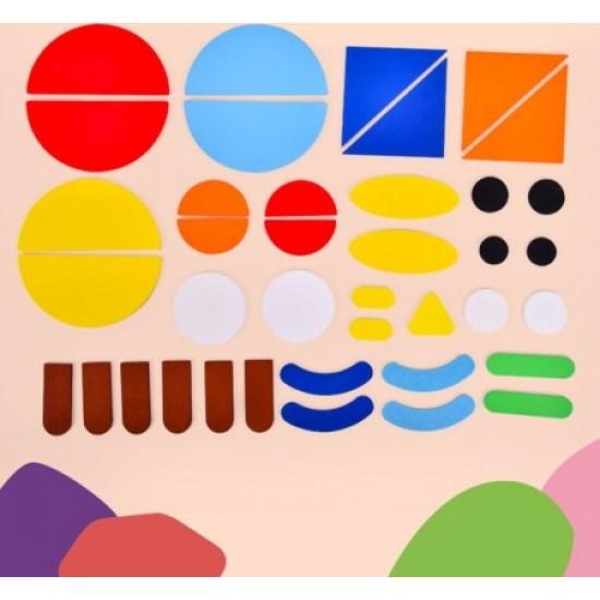 Joc tangram din lemn Montessori Fun Puzzle