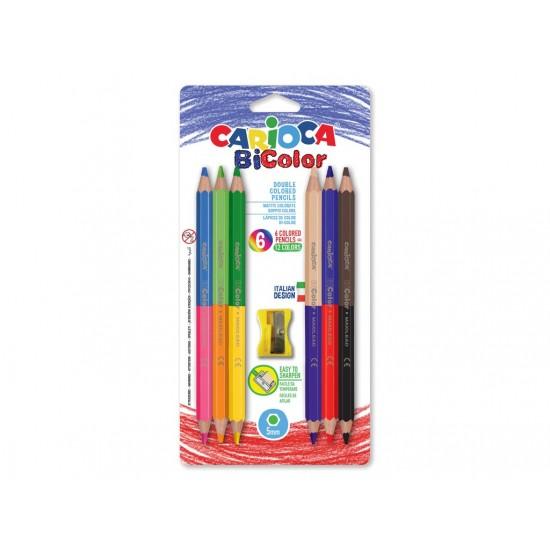 Creioane color Bi-color Carioca - 6 buc/set