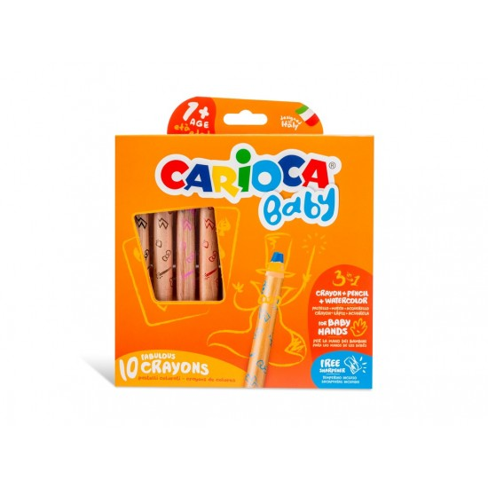 Creioane color 3 in 1 Carioca Baby 1an+ Set 10 culori /cutie