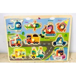 Puzzle din lemn Color cu pini Animale in vehicule