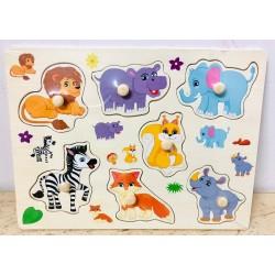Puzzle din lemn cu pini 7 Animale