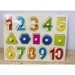 Puzzle cu pini din lemn Invatam cifrele si formele