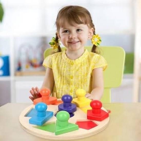Puzzle incastru Montessori din lemn forme geometrice piese mari