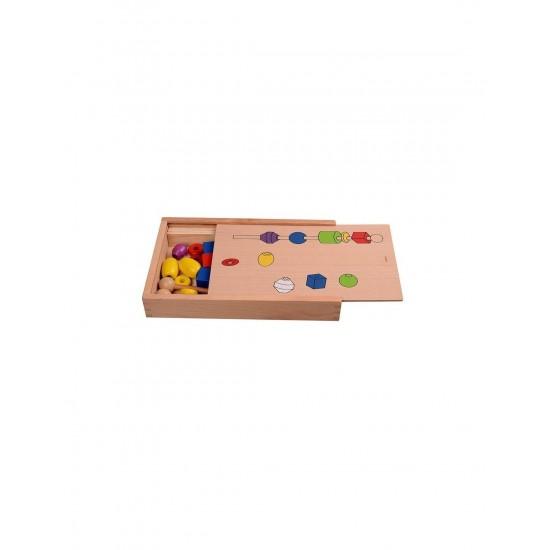 Joc de insiruire si sortare dupa model, siruri cu margele din lemn, indemanare, Montessori