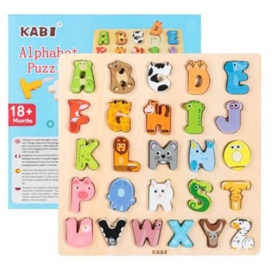 Alfabet 3D din lemn  cu imagini Kabi