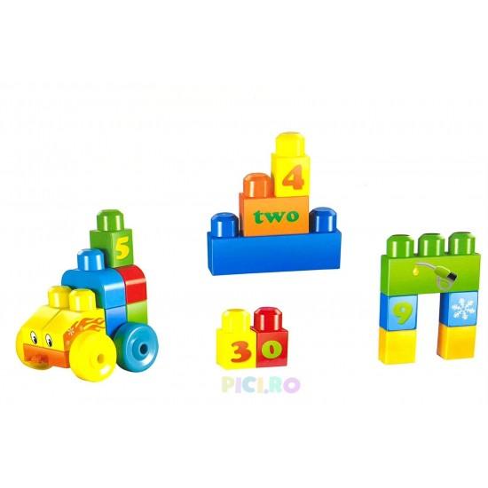 34 Cuburi de constructie cu carucior si masuta Verde