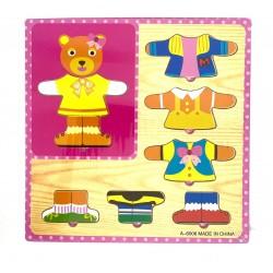 Puzzle din lemn Imbraca Ursoaica