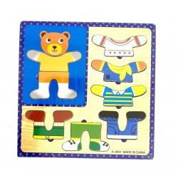 Puzzle din lemn Imbraca Ursul Brun