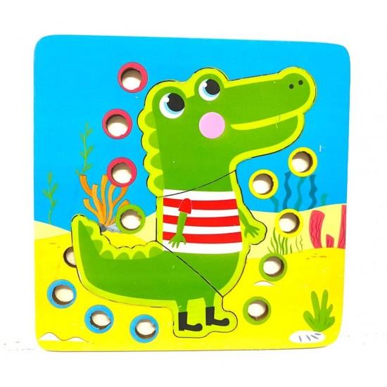 Joc de indemanare 2 in 1 Puzzle si Bile Crocodil