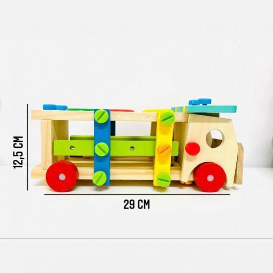 Banc de scule si ciocanel cu bile din lemn Camionul 2 in 1
