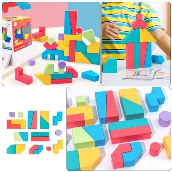 Blocuri educative din lemn Magic Blocks