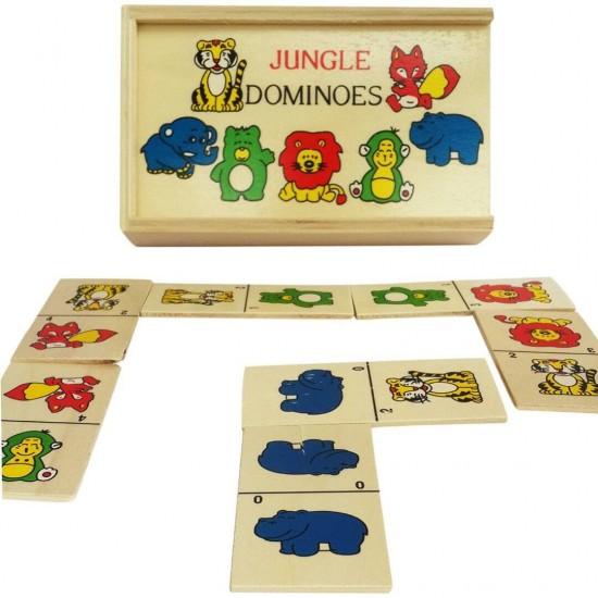 Domino Animale din jungla  28 Piese Lemn
