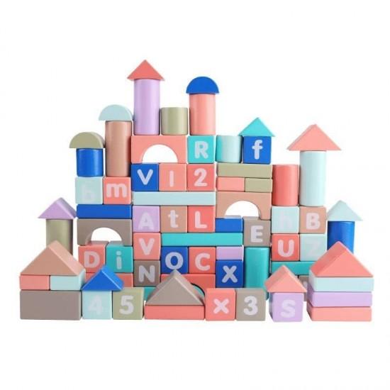 100 Cuburi constructie educative Makaron color
