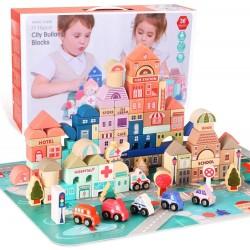 Joc de constructii din lemn 115 piese Magic Color City