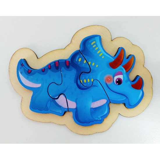 Puzzle 3 piese Dino Triceratops