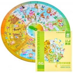 Puzzle 44 piese Ceasul si cele 4 Anotimpuri