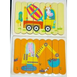 Puzzle de potrivire bete Vehicule cu Animale