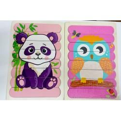 Puzzle de potrivire bete Bufnita si Urs Panda