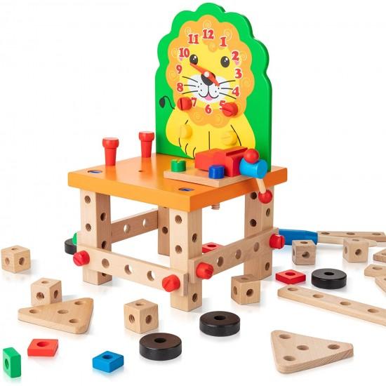 Joc multifunctional de asamblare Leul cu ceas