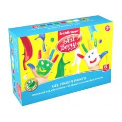 Set Acuarele ArtBerry Finger Paints cu Aloe Vera, 6 culori x100ml