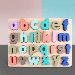 Puzzle incastru din lemn Litere mici colorate Pastel