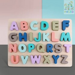 Puzzle incastru din lemn Litere Mari colorate Pastel