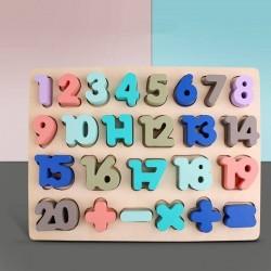 Puzzle incastru din lemn cu Cifre si Semne de Calcul  colorate Pastel