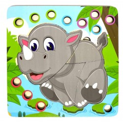 Joc de indemanare 2 in 1 Puzzle si Bile Rinocer