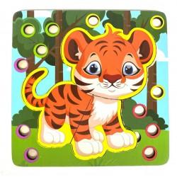 Joc de indemanare 2 in 1 Puzzle si Bile Tigru