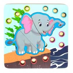Joc de indemanare 2 in 1 Puzzle si Bile Elefant