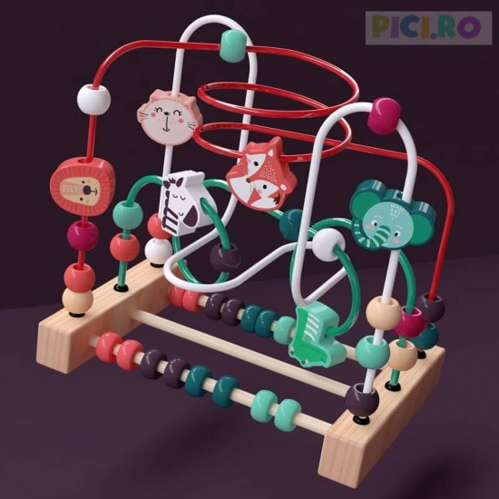 Labirint Cu Bile din lemn Joc dexteritate Animale salbatice