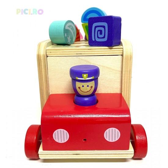 Jucarie din lemn cu Forme Geometrice Police Car