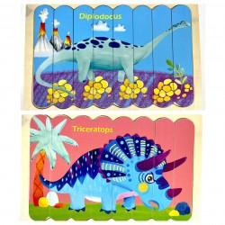 Puzzle de potrivire bete Triceratops si Diplodocus