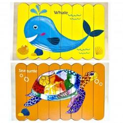 Puzzle de potrivire bete Balena si Broasca