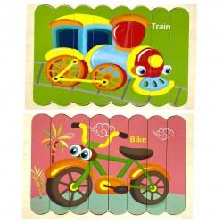 Puzzle de potrivire bete Bicicleta si Tren