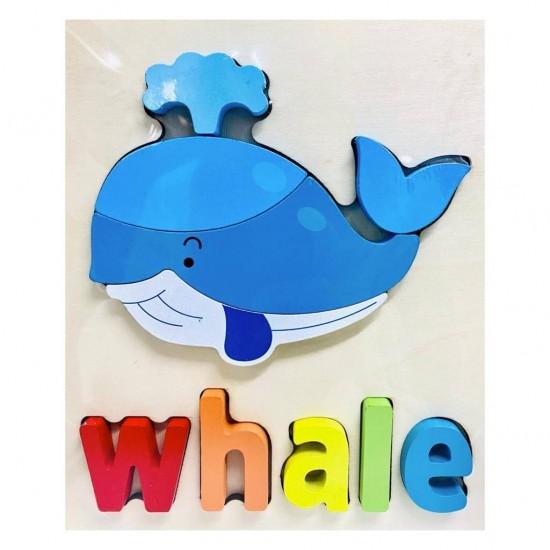 Puzzle Din Lemn Cuvinte In Limba Engleza -  Balena ( Whale )