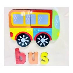 Puzzle Din Lemn Cuvinte In Limba Engleza - Autobuz ( Bus )