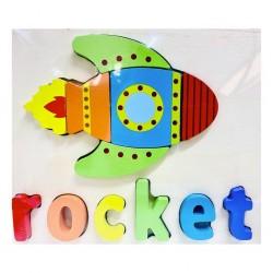 Puzzle Din Lemn Cuvinte In Limba Engleza - Racheta ( Rocket )
