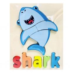 Puzzle Din Lemn Cuvinte In Limba Engleza -  Rechin ( Shark )