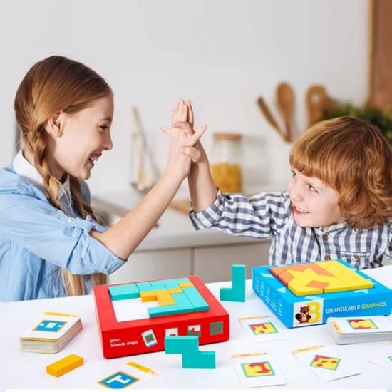 Joc educativ din lemn 2in1 Tetris + Tabla de scris