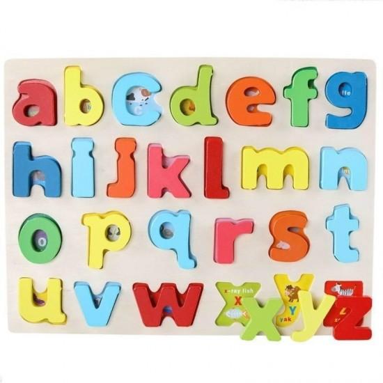 Puzzle litere mici Alfabet 3D din Lemn